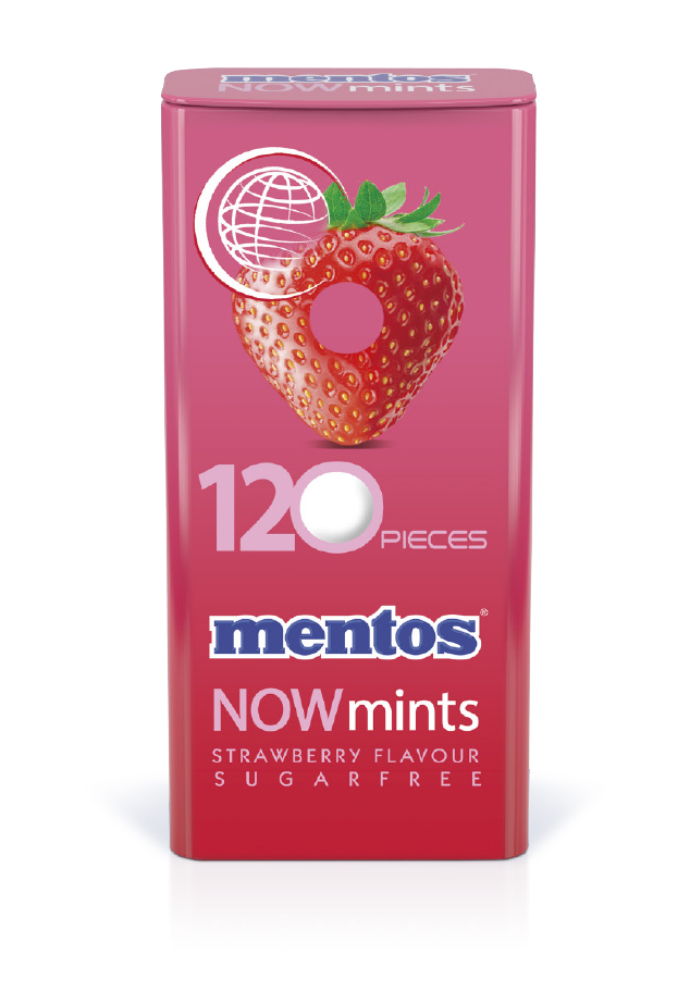 Mentos Now Mints Strawberry Tin